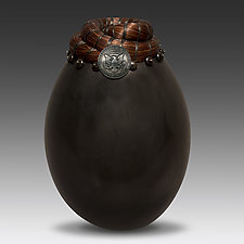 Horsehair Vessel with Kennedy Half Dollar by Valerie Seaberg (Ceramic Vessel)