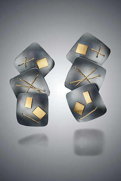 Interwoven Three Squares Earrings