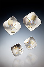 Square Interwoven Earrings by Suzanne Schwartz (Gold & Silver Earrings)