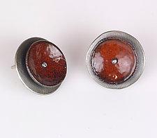 Concave Circle Earrings by Beth Novak (Enameled Earrings)