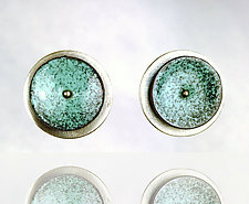 Concave Circle Earrings by Beth Novak (Enameled Earrings)