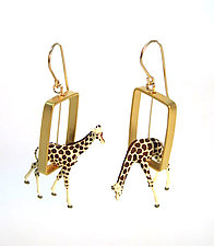 Giraffes in Gold Rectangles by Kristin Lora (Gold & Silver Earrings)