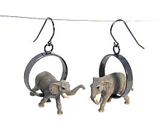 Elephant Earrings by Kristin Lora (Silver Earrings)
