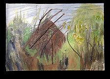 Two Deer near Beaver Lodge by Diana Arcadipone (Mixed-Media Wall Hanging)