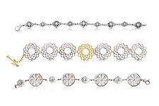 Three Metropolitan Bracelets by Diana Widman (Gold, Silver & Steel Bracelet)