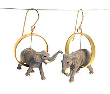 Elephants in Gold Circle Earrings by Kristin Lora (Gold & Silver Earrings)