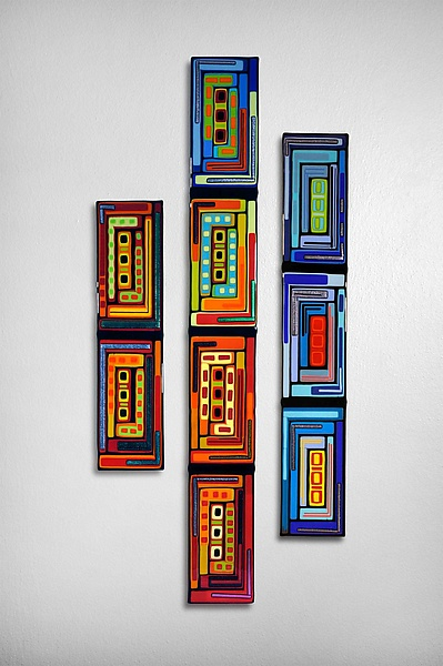 Log Cabin Triptych Wall Panels