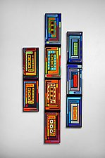 Log Cabin Triptych Wall Panels by Helen Rudy  (Art Glass Wall Sculpture)