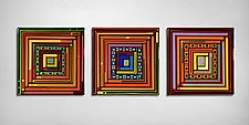 Log Cabin Triptych - Square Panels by Helen Rudy (Art Glass Wall Sculpture)
