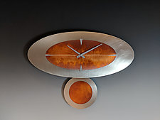 Steel & Copper Stand-Alone Oval Pendulum Clock by Leonie  Lacouette (Metal Clock)