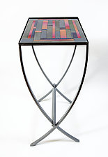 Iridescent Stripes Art Glass Table by Varda Avnisan (Art Glass Console Table)