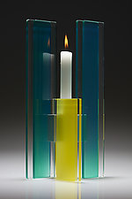 Green and Yellow Deco Candle Holder by Sidney Hutter (Art Glass Candleholder)