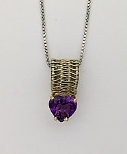 Sigma 14K Pendant Necklace with Woven Wire and Heart Shaped Amethyst by Marie Scarpa (Gold & Stone Necklace)