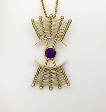 Totem 14K Large Pendant Necklace with Amethyst by Marie Scarpa (Gold & Stone Necklace)