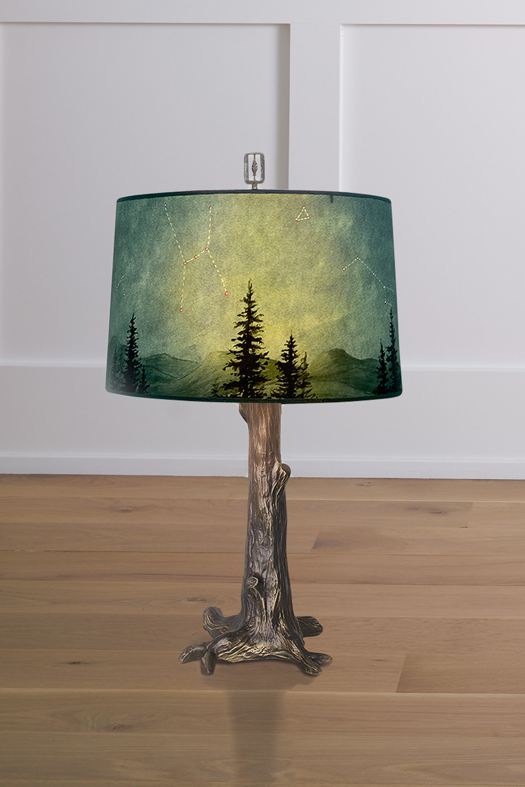 Bronze Tree Table Lamp With Large Drum Shade In Midnight