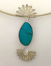 Fandango Silver Pin/Necklace with Bisbee Turquoise by Marie Scarpa (Silver & Stone Pendant)