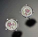 Tiny Plum Blossom Studs by Ananda Khalsa (Sterling Silver Earrings)