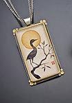Crane Silhouette Pendant by Ananda Khalsa (Silver & Stone Pendant)