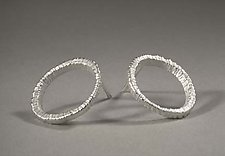 Small Off Circle Dig Earrings by Dahlia Kanner (Silver or Gold Earrings)