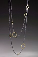Floating Dig Circle Necklace by Dahlia Kanner (Gold & Silver Necklace)