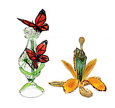 Floral Perfume Bottles by Loy Allen (Art Glass Perfume Bottle)
