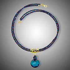 London Blue Quartz Necklace & Earrings by Judy Bliss (Gold & Stone Necklace)