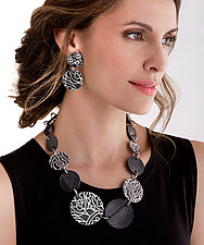 Abstract Paisley Earrings & Necklace by Kathleen Nowak Tucci (Aluminum & Rubber Jewelry)