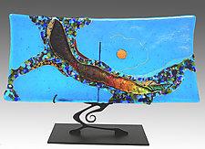 Turquoise Moon Swoop Sushi by Karen Ehart (Art Glass Sculpture)