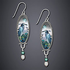 Blue Heron Earrings by Dawn Estrin (Silver Earrings)
