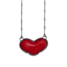 Small Enamel Heart Necklace by Lisa Crowder (Enameled Necklace)
