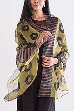Chartreuse Silk Shibori Wrap by Suzanne Bates  (Silk Wrap)