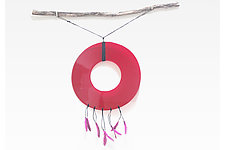 Red Glass Dream Catcher with Feathers by Nathalie Guez (Mixed-Media Wall Sculpture)