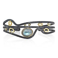 Rapids Cuff Bracelet with Oval Moonstone by Rona Fisher (Gold, Silver & Stone Bracelet)