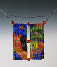 California Dream Beadwork Necklace with Carnelians 2 by Julie Long Gallegos (Beaded Necklace)