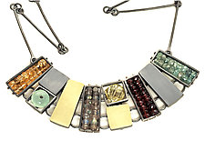 Multicolor Cage Necklace by Ashka Dymel (Gold, Silver & Stone Necklace)