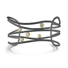 Oxidized Silver and Diamond Ribbon Cuff by Dana Melnick (Gold, Silver & Stone Bracelet)