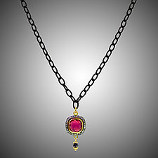 Red Quartz and Diamond Necklace by Judy Bliss (Silver & Stone Necklace)