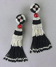 Art Deco Black and Ivory Tassel Earrings with Coral by Julie Long Gallegos (Beaded Earrings)