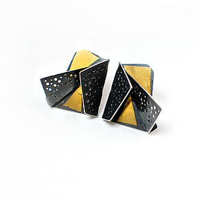 Origami Earrings #4 by Sophia Hu (Gold & Silver Earrings)