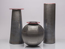 Tall Silver Foil Vase by David J. Benyosef (Art Glass Vase)