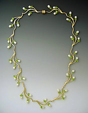 Pearl & Peridot Branch Necklace by Ellen Vontillius (Pearl & Peridot Necklace)
