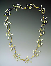 Lyrical Branch Necklace by Ellen Vontillius (Gold & Pearl Necklace)