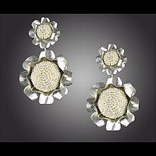 Pearl Camellia Drop Earrings by Julie Long Gallegos (Beaded Earrings)