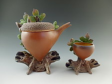 White Oak Acorn Tea with Cup by Nancy Y. Adams (Ceramic Sculpture)