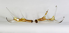 Golden Glass Antlers by Grant Garmezy (Art Glass Sculpture)