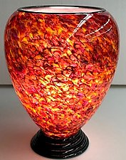 Rose and Purple Lamp by Curt Brock (Art Glass Table Lamp)