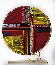 Yellow, Black, and Red Art Glass Sculpture by Varda Avnisan (Art Glass Sculpture)