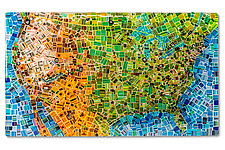 Map of the USA by Renato Foti (Art Glass Wall Sculpture)