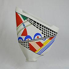 Multi-Colored Unique Sailvase by Jean Elton (Ceramic Vase)