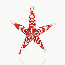 Peppermint Starfish by Michael Magyar (Art Glass Ornament)